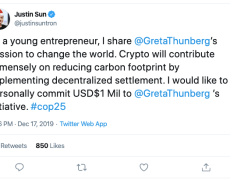 Justin Sun Explains the Rationale Behind His $1 Million Greta Thunberg Donation