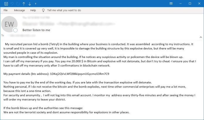 Example of bomb scare email scam. Source: Symantec