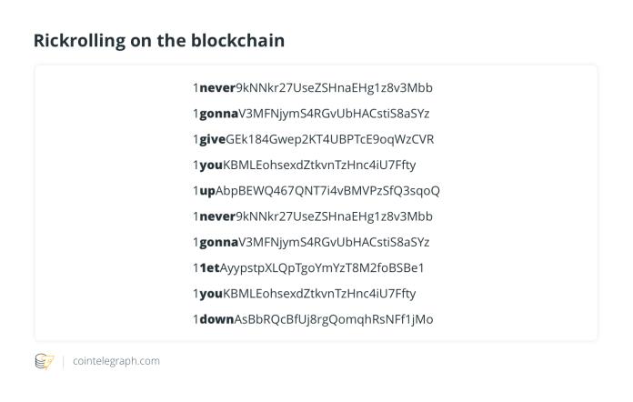 Rickrolling on the blockchain
