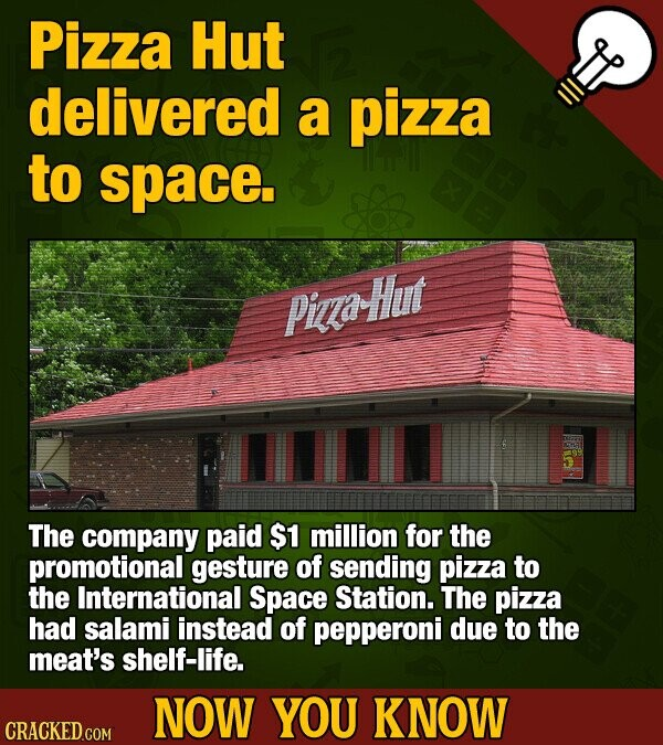 Pizza Hut delivered a pizza to space. Pizza-Hut The company paid $1 million for the promotional gesture of sending pizza to the International Space Station. The pizza had salami instead of pepperoni due to the meat's shelf-life. NOW YOU KNOW CRACKED.COM