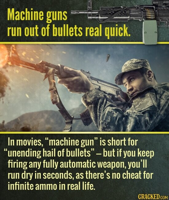 Machine guns run out of bullets real quick. In movies, machine gun is short for unending hail of bullets -but if you keep firing any fully automatic weapon, you'll run dry in seconds, as there's no cheat for infinite ammo in real life.