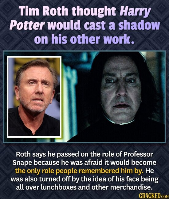 Tim Roth thought Harry Potter would cast a shadow on his other work. Roth says he passed on the role of Professor Snape because he was afraid it would