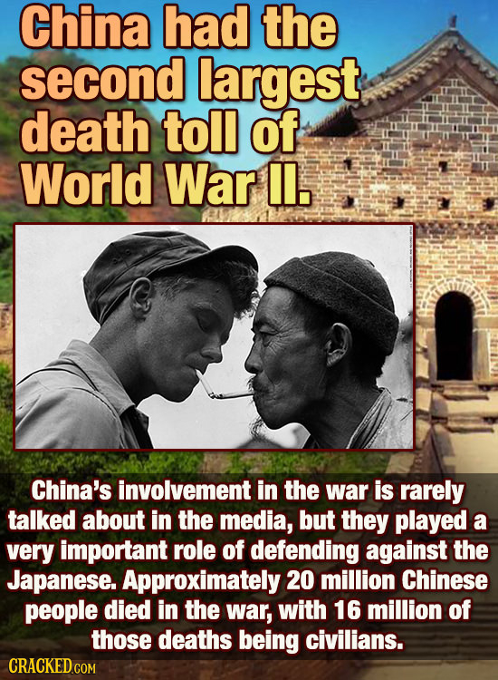 China had the second largest death toll of World War IL. China's involvement in the war is rarely talked about in the media, but they played a very im