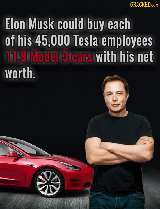 CRACKED.c COM Elon Musk could buy each of his 45, ,000 Tesla employees 11.9 Model 3 cars with his net worth.