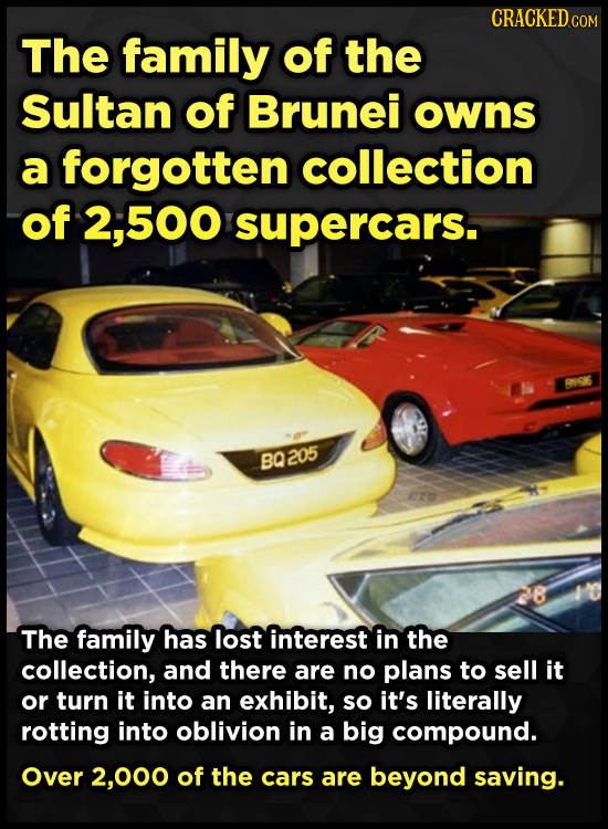 CRACKED The family of the Sultan of Brunei owns a forgotten collection of 500 supercars. RNIGIS BQ205 The family has lost interest in the collection,