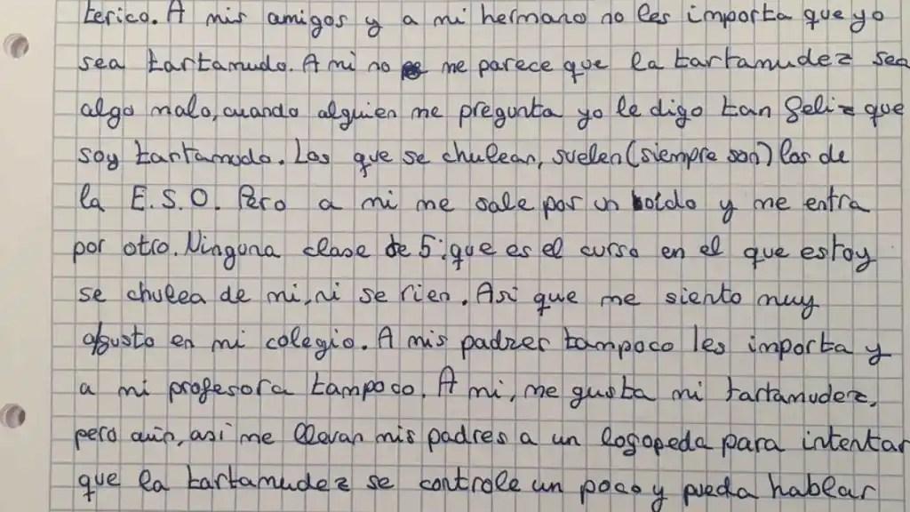 La carta escrita por Juan Carlos López en la que habla sobre su disfunción en el habla.