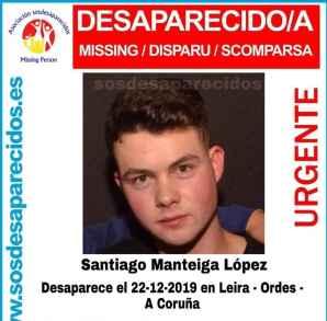 El cartel de desaparición de Santiago.