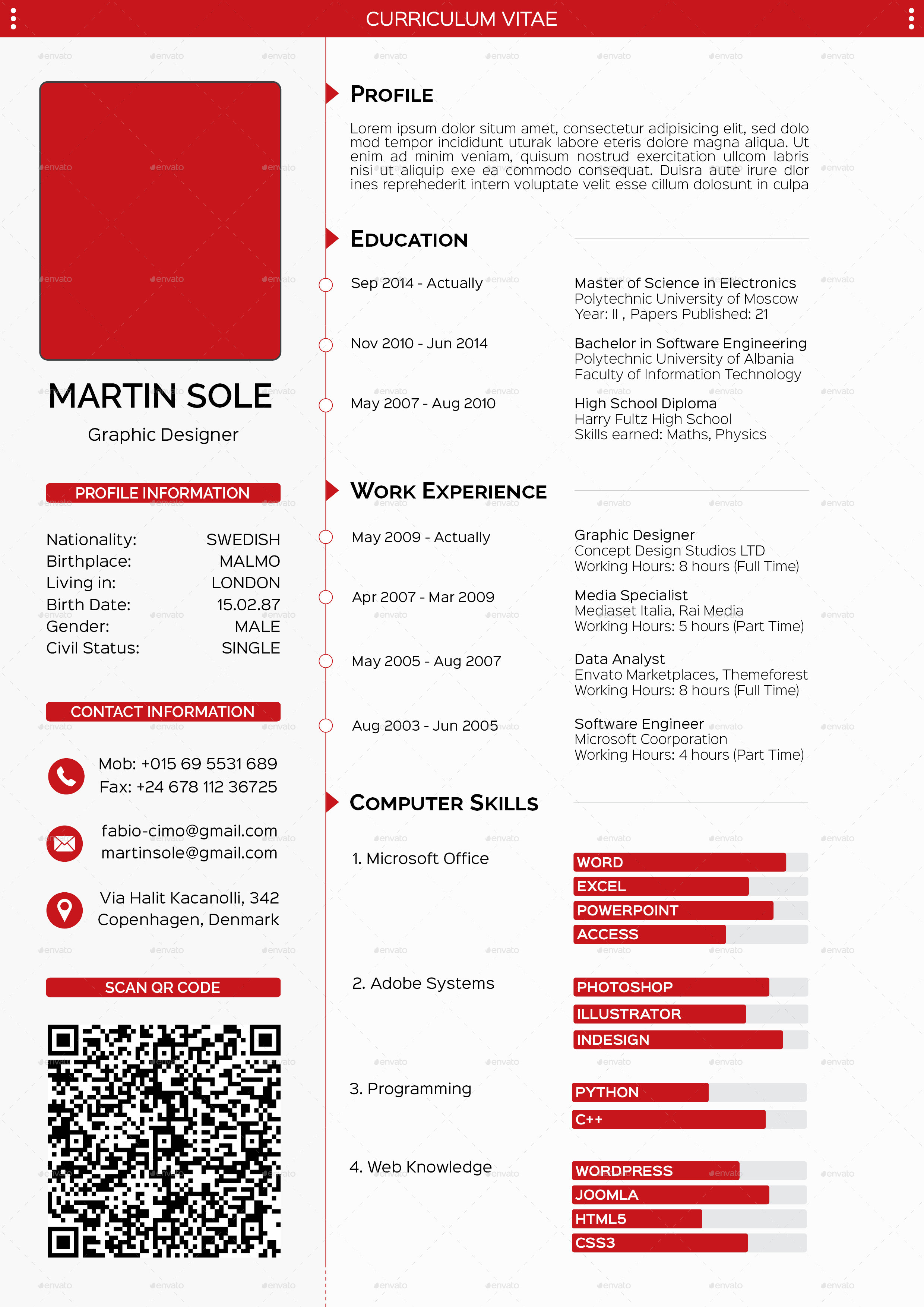Clean Multipurpose CV Template by fabiocimo | GraphicRiver
