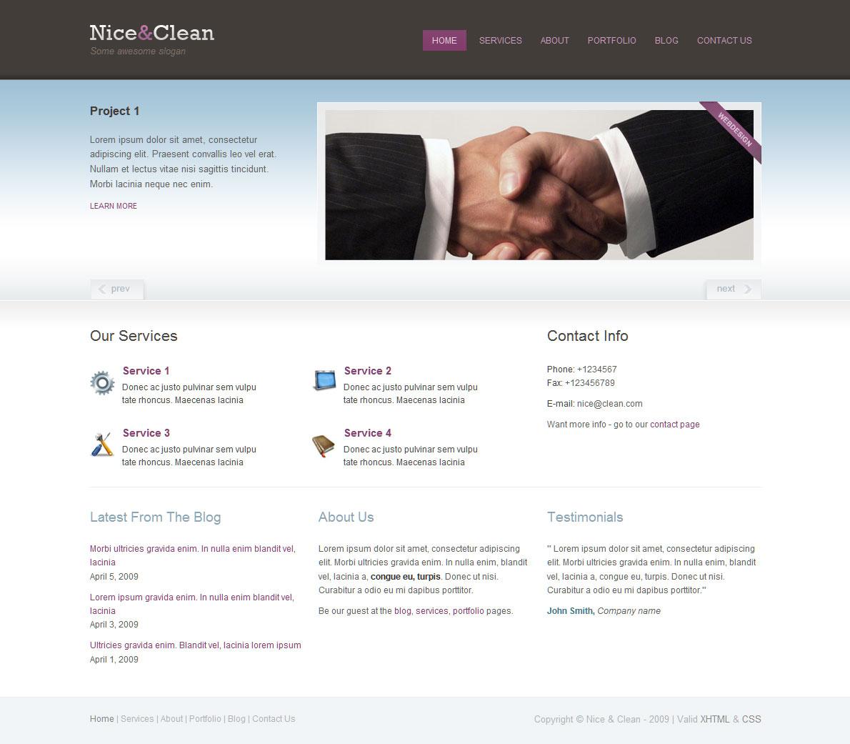 nice clean portfolio blog