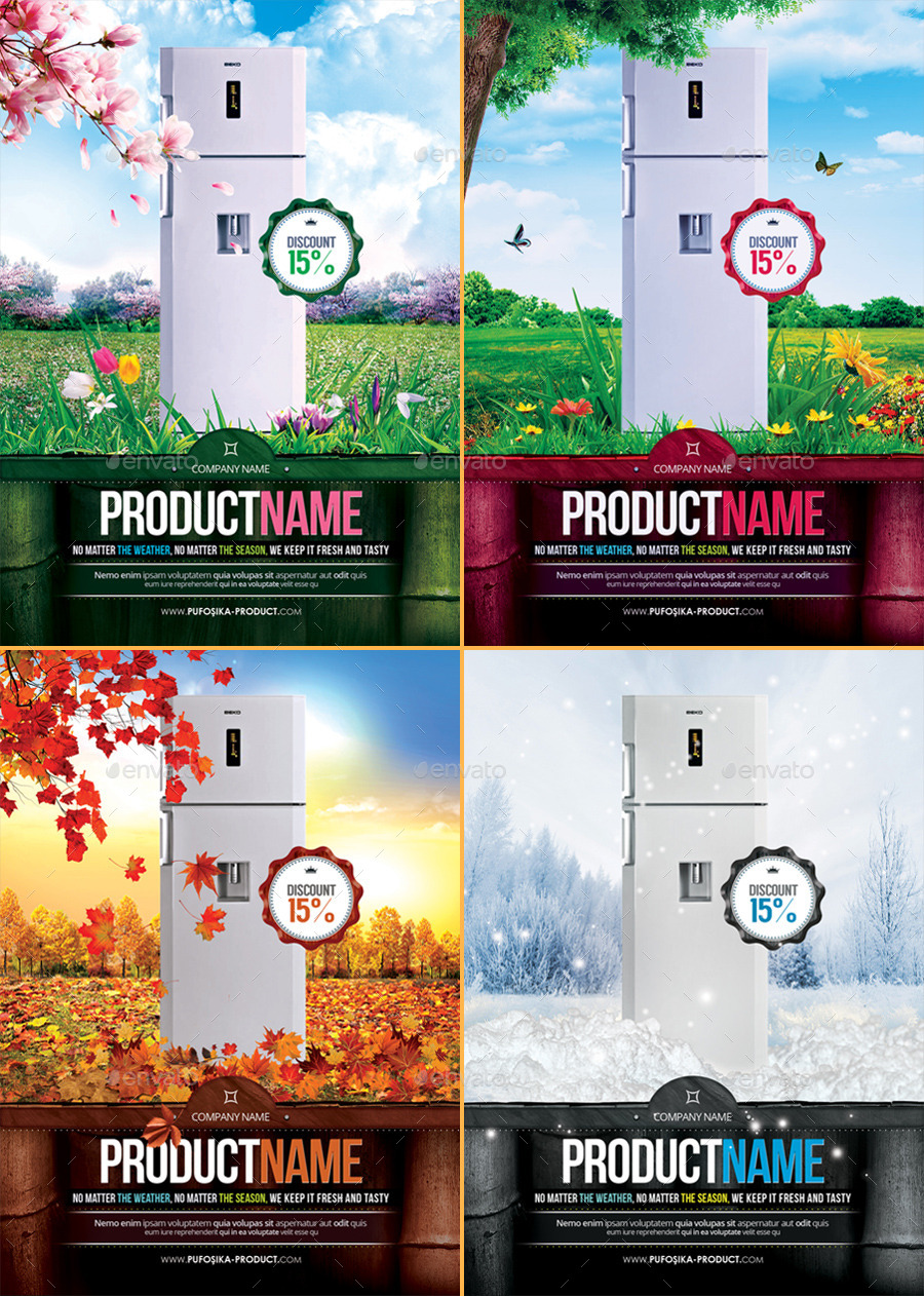 4 Seasons Product Promotion PosterFlyer By Minkki GraphicRiver