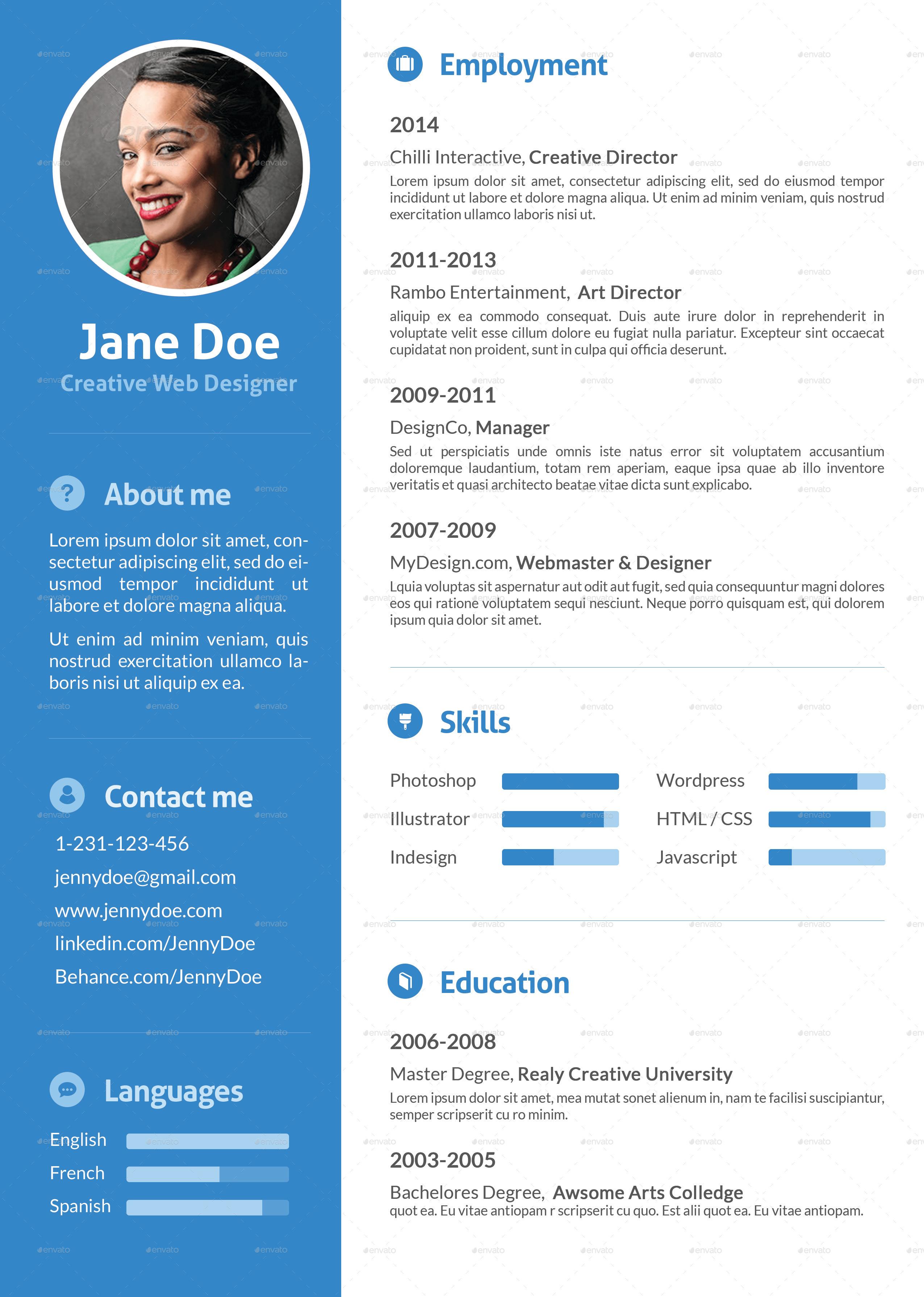 Stylish Flat Resume By Ofrika GraphicRiver