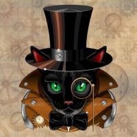 Steampunk Black Cat - Meow Vector Art on GraphicRiver ;)