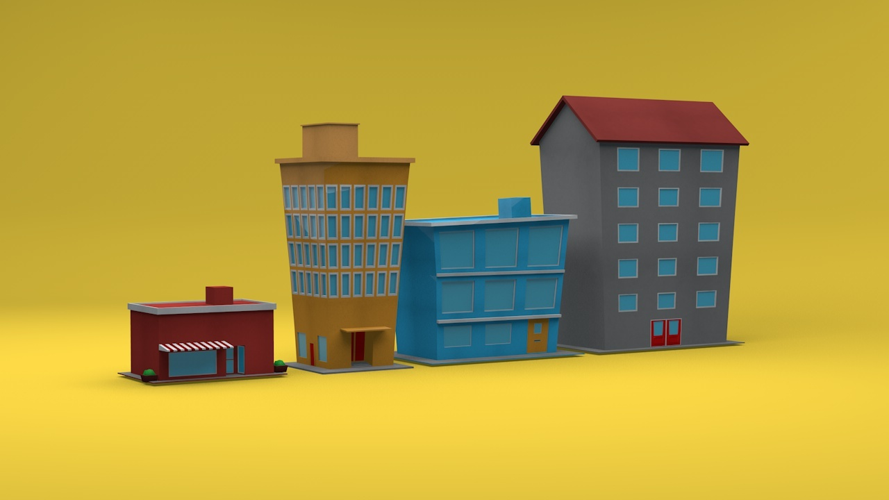 Low Poly City Pack By 3dtreatment 3docean