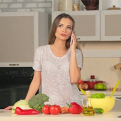 Kitchen Phone White Bar Stools Woman Talking On The In By Yurgentum Videohive Play Preview Video