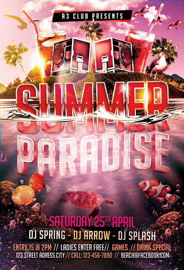 Summer Paradise Flyer Template By Arrow3000 GraphicRiver
