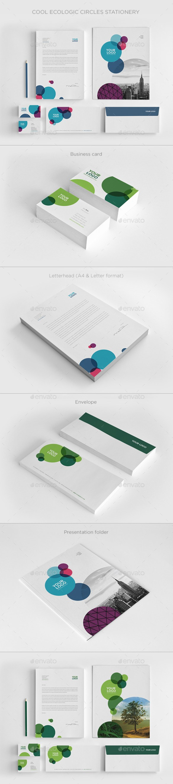 Cool Ecologic Circles Stationery - Stationery Print Templates
