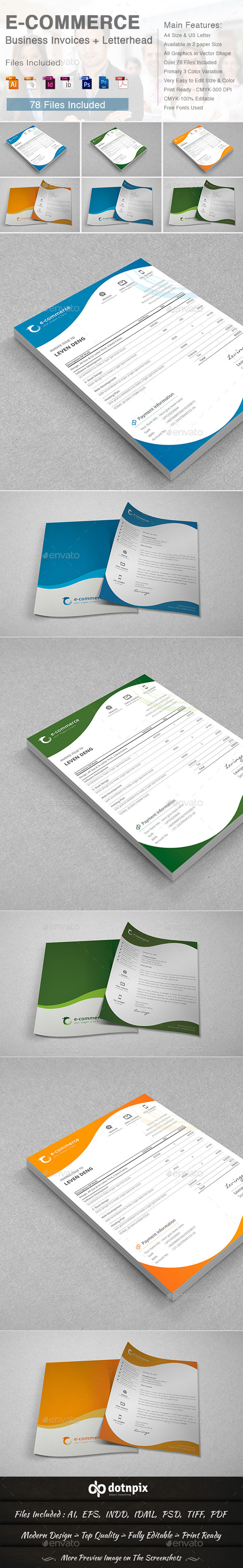 E-Commerce Business Invoices + Letterhead - Proposals & Invoices Stationery