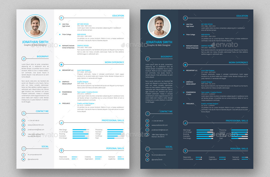 Professional Resume  CV  4 Pieces by nazdrag  GraphicRiver