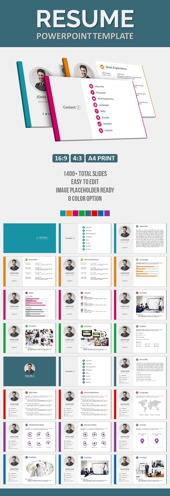 Resume PowerPoint Template By Pptx GraphicRiver