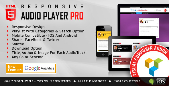 visual composer-addon-html5 audio player pro