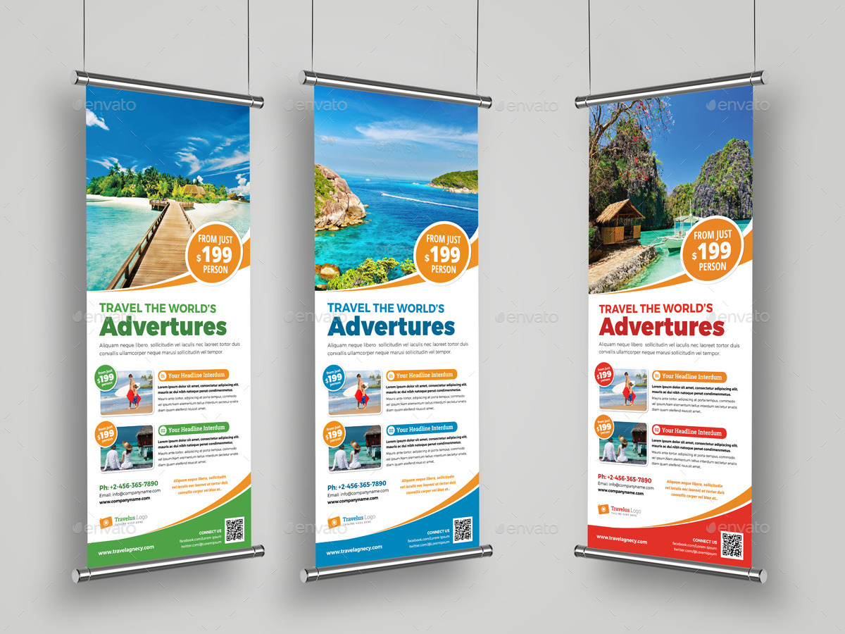 Travel Roll Up Banner Signage InDesign Template By