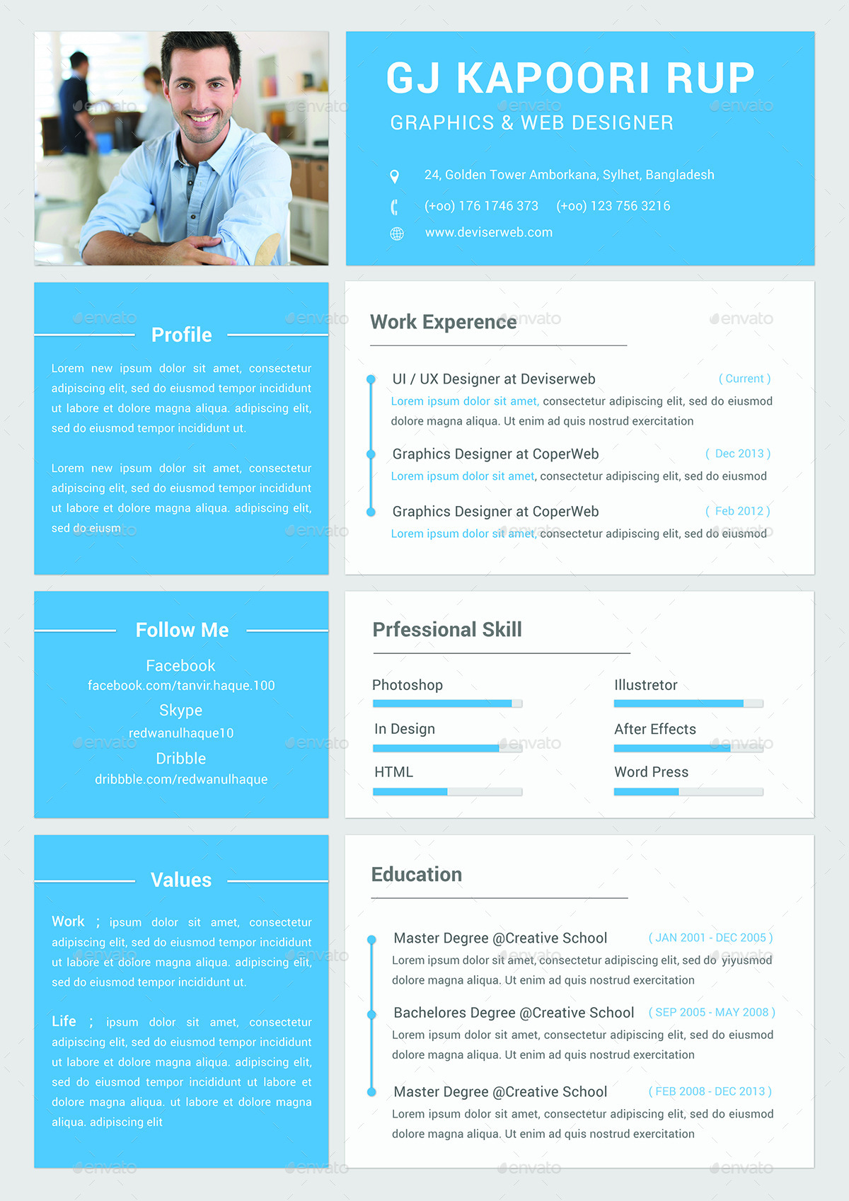 Material Style CV  Resume by redwanulhaque  GraphicRiver