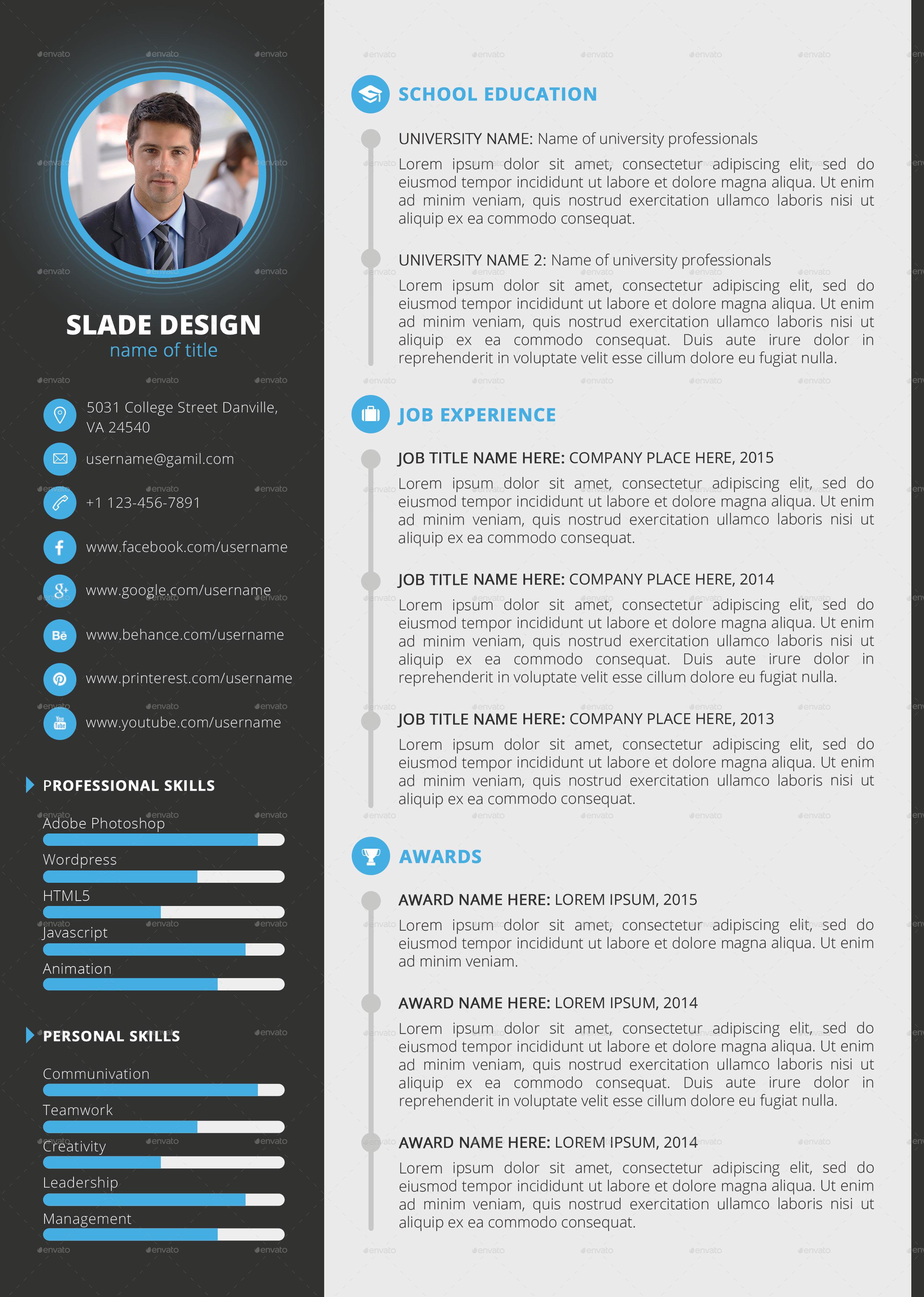Slade Professional Quality CV  Resume Template by SladeDesign  GraphicRiver