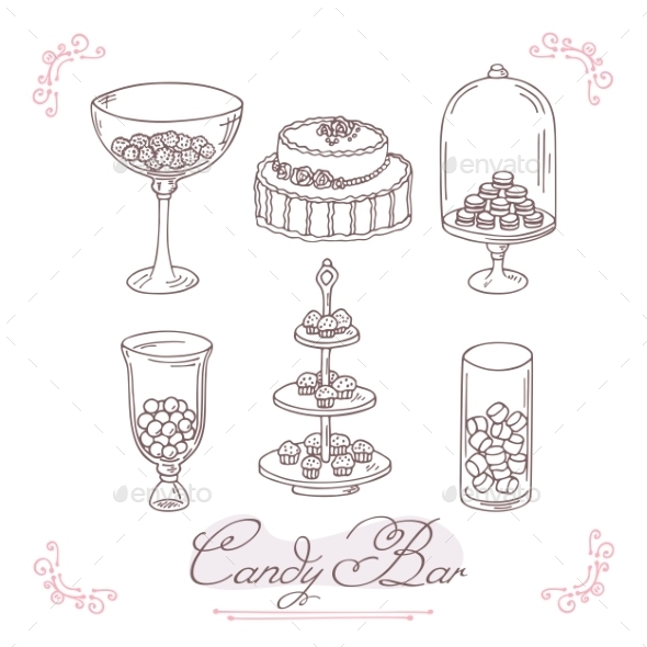 Set Of Candy Bar Objects. Bakery Goods Clip Art by