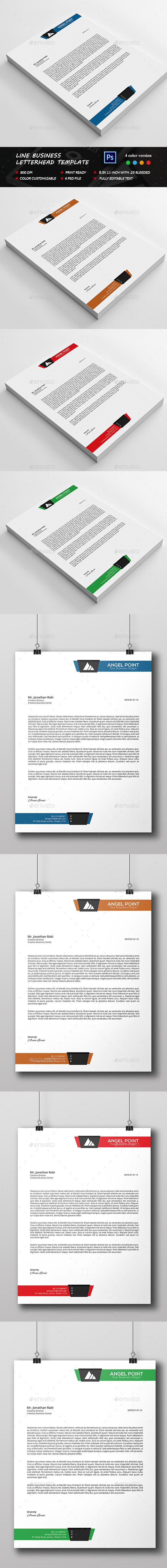 Line Business Letterhead Template By Sixlock Graphicriver