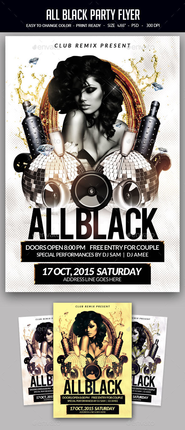 all black party flyer