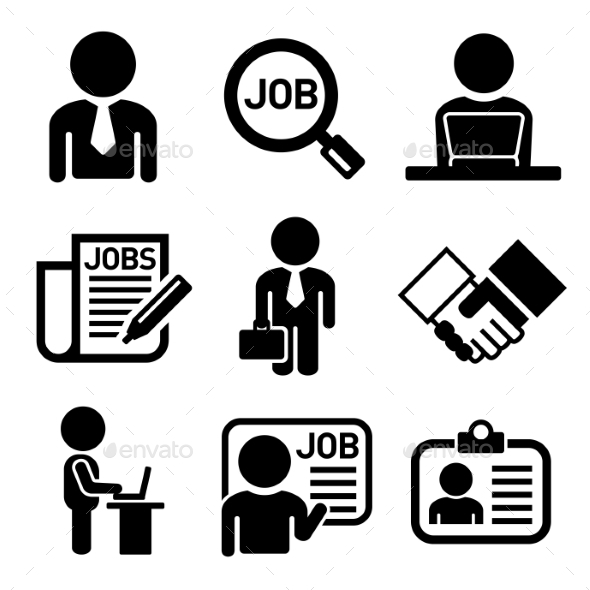 Business, Management And Human Job Resources Icons by In