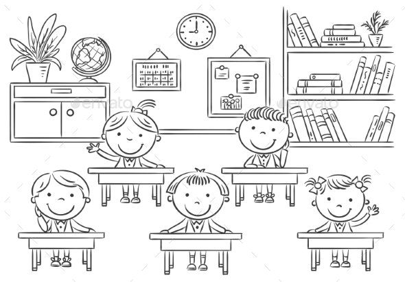 Little Cartoon Kids In The Classroom At The Lesson by