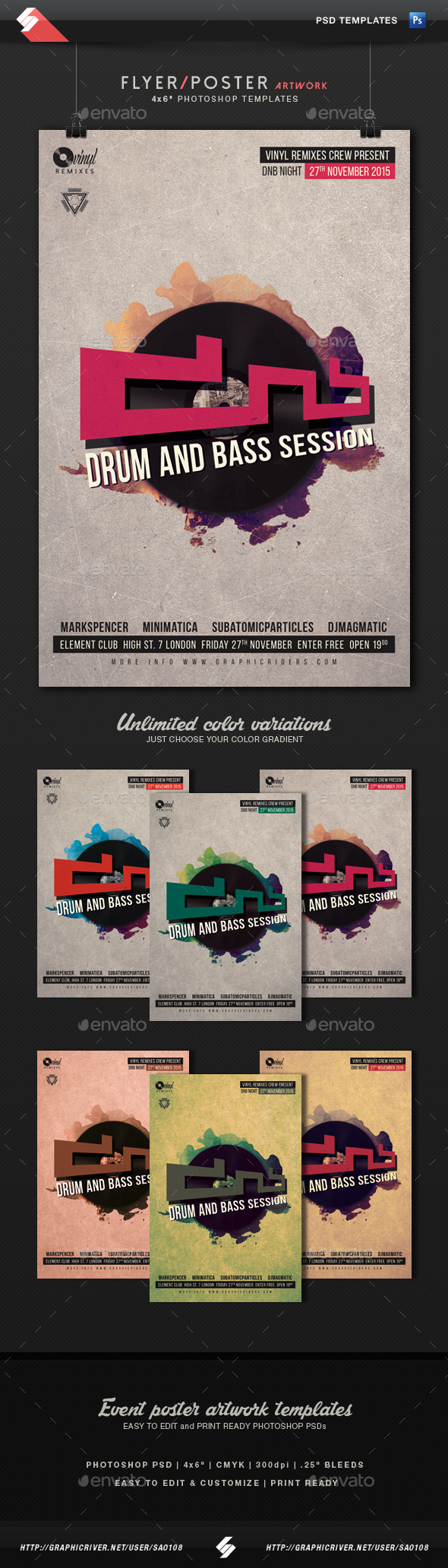 Drum And Bass Session - Party Flyer Template - Clubs & Parties Events