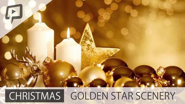 golden christmas scenery