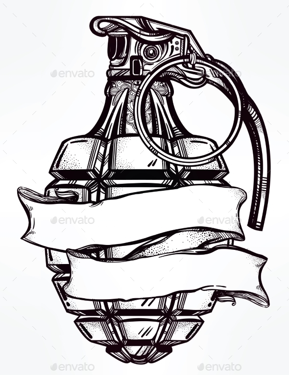 Hand Drawn Design of an Army Manual Grenade by itskatjas
