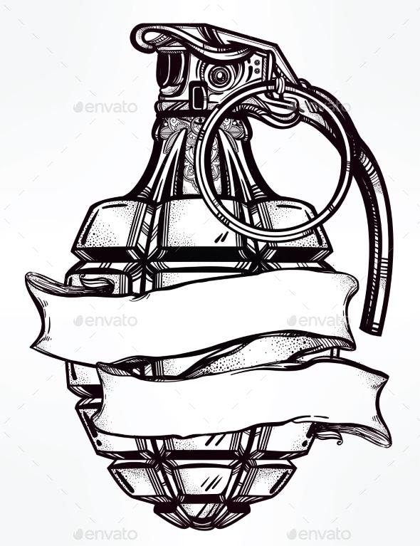 Hand Drawn Design of an Army Manual Grenade by itskatjas