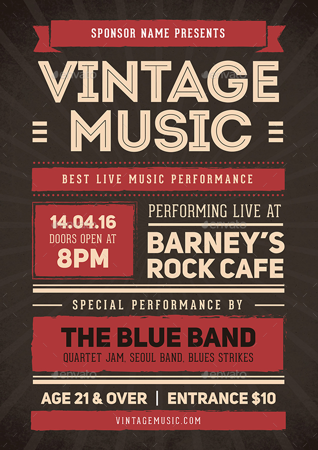 Vintage Music Flyer Poster by vynetta  GraphicRiver