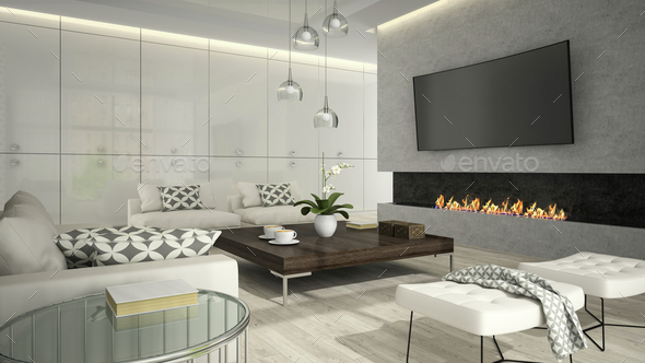 Interior Of Living Room With Stylish Fireplace 3d Rendering 2 Stock Photo By Hemul75
