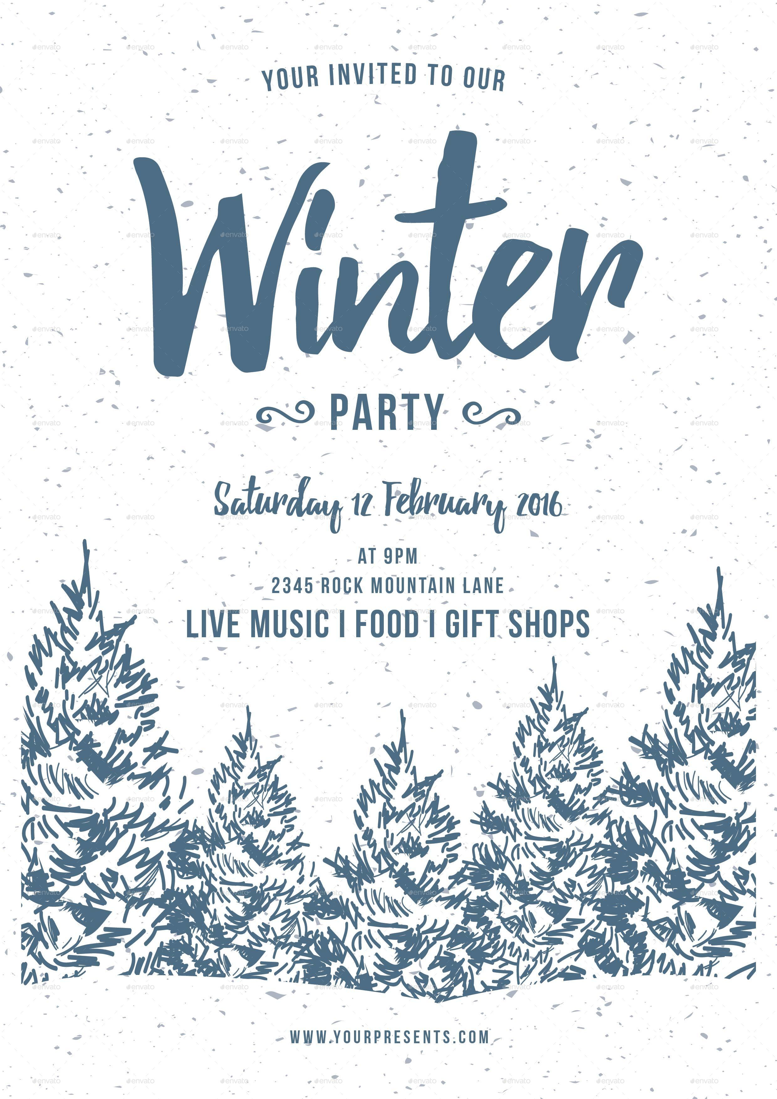 Winter Party Flyer By Lilynthesweetpea GraphicRiver