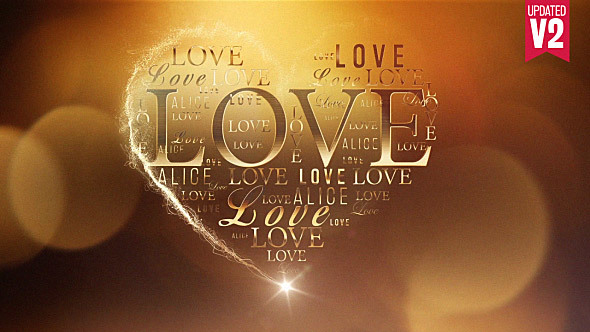 Love in a Heart Video Animation - Gold Color Theme