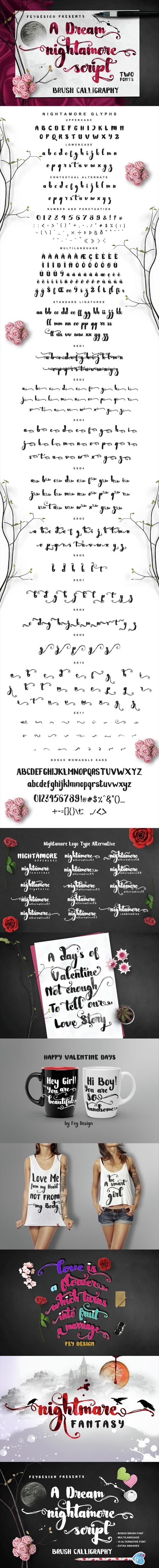 Free Font Nightamore Brush Calligraphy Download
