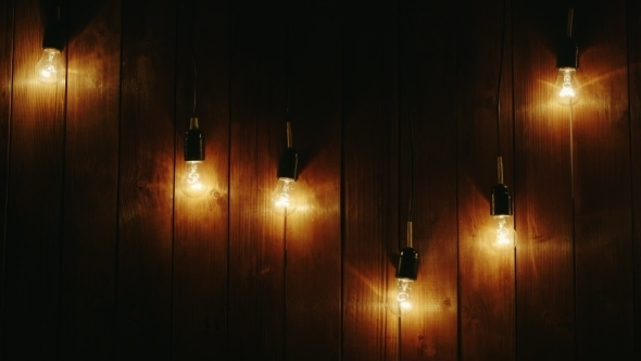 Fall Wallpaper 4d Garland Of Light Bulbs On A Wooden Background By