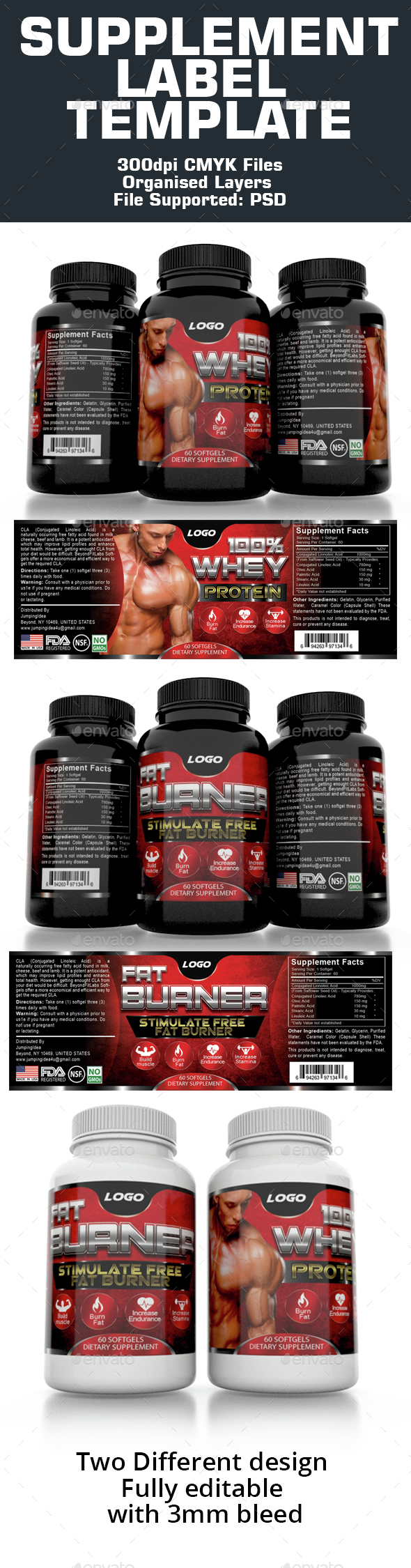Supplement Label Template - Packaging Print Templates
