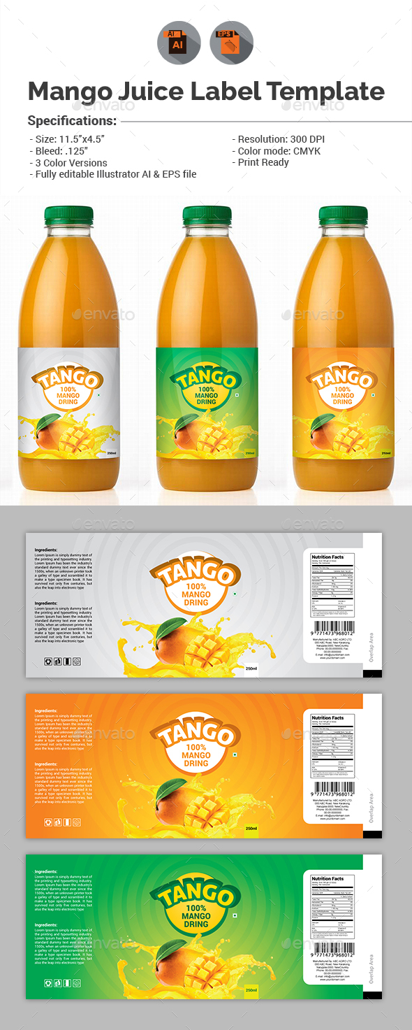 Mango Juice Label Template - Packaging Print Templates