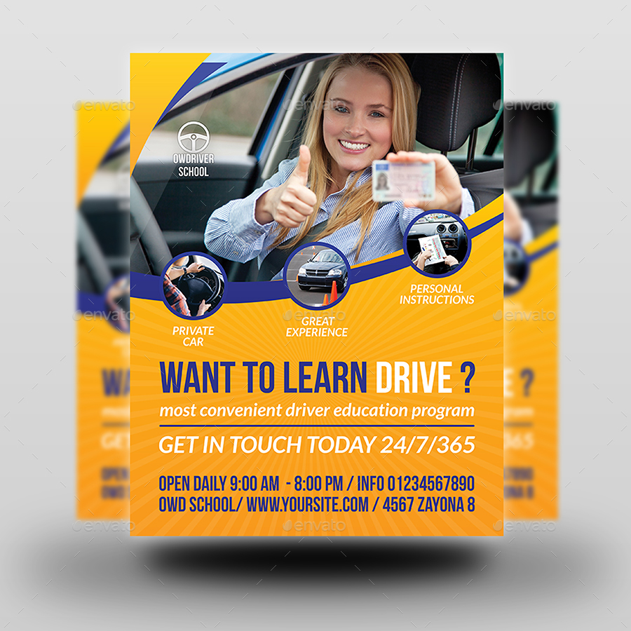 Driving School Flyer Template by OWPictures  GraphicRiver