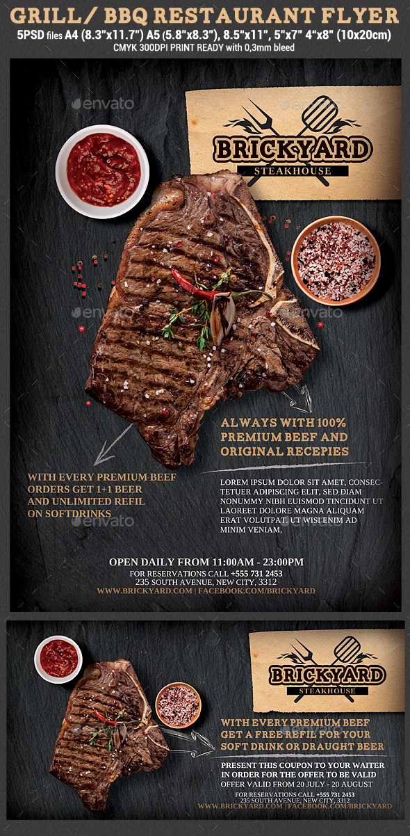 Grill Steak Restaurant Flyer Template By Hotpin GraphicRiver