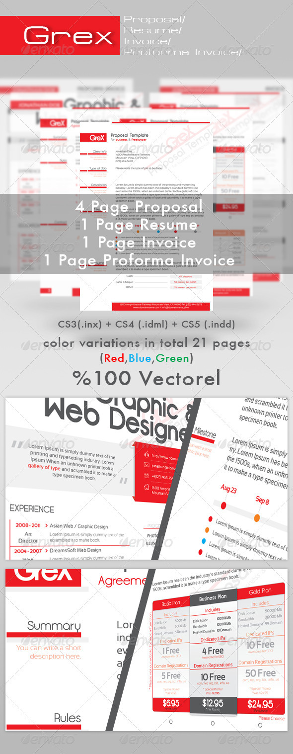 Grex Proposal/resume/invoice Template Package - Proposals & Invoices  Stationery