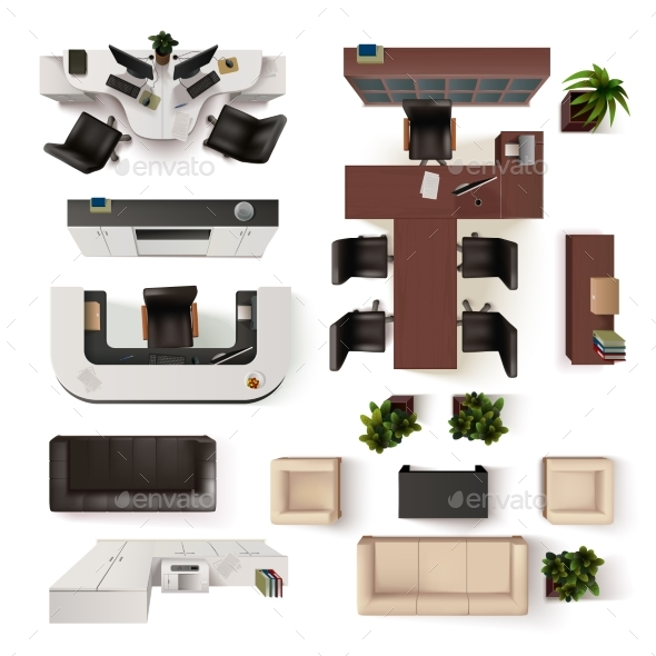 Office Interior Elements Top View Set By Macrovector