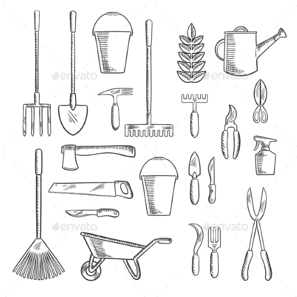 Gardening Tools Sketches for Farming Design by seamartini