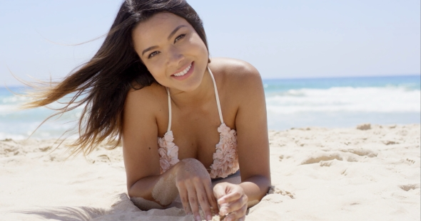 Tianna Gregory Hd Wallpaper Sexy Brunette Girl Laying On Sandy Beach By Daniel Dash